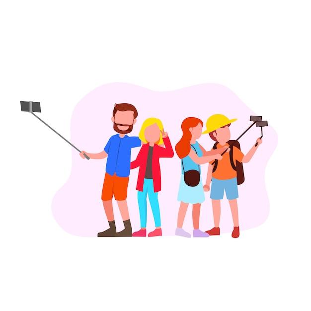 Impostare l'illustrazione del gruppo selfie Vettore Premium