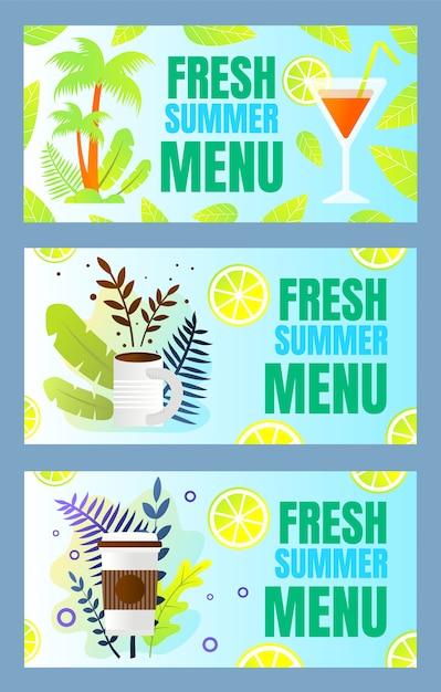Impostare l'iscrizione fresca estate menu cartoon flat Vettore Premium