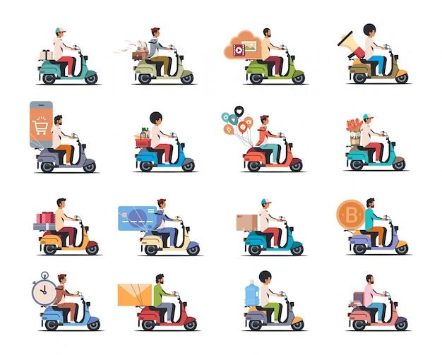 Impostare l'uomo equitazione scooter diversi concetti insieme isolato piatta Vettore Premium