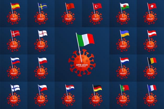 Impostare la bandiera del paese europa appuntata su un coronavirus. ferma l'epidemia 2019-ncov. pericolo di coronavirus e rischio per la salute pubblica malattia e focolaio di influenza. concetto medico pandemico con cellule pericolose Vettore Premium