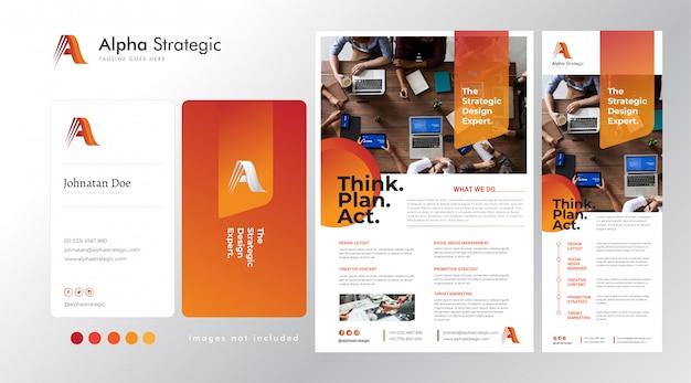Impostare la base del logo aziendale su a, biglietto da visita, flyer e modello di banner in piedi Vettore Premium
