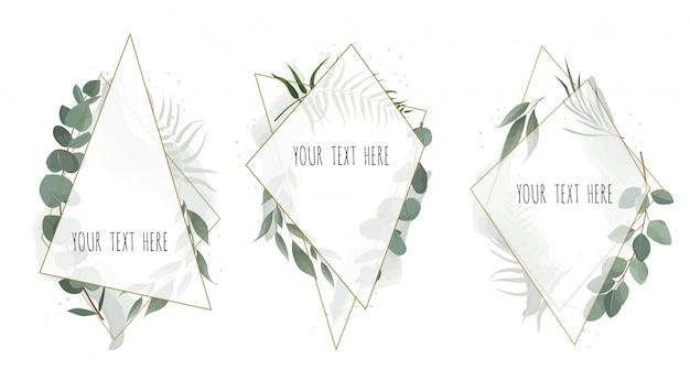 Impostare la carta botanica floreale vettoriale Vettore Premium
