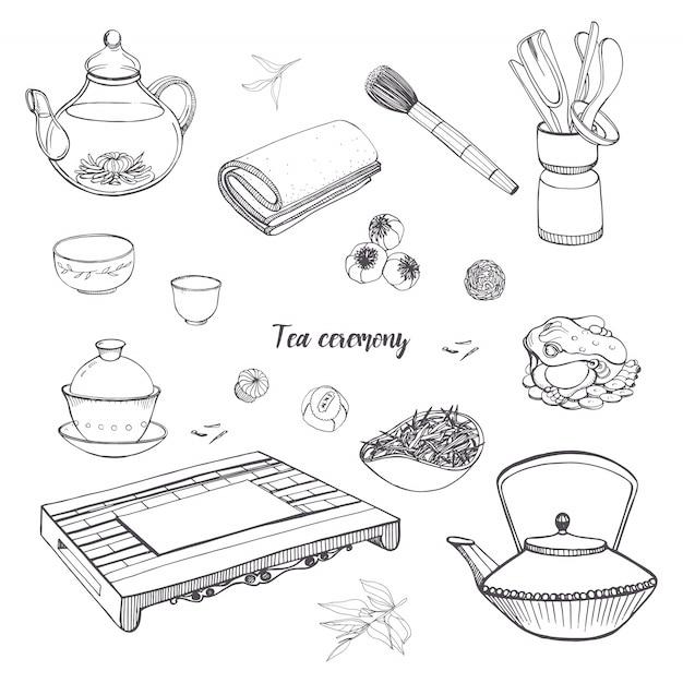Impostare la cerimonia del tè con vari strumenti tradizionali. teiera, ciotole, gaiwan. illustrazione disegnata a mano di contorno Vettore Premium