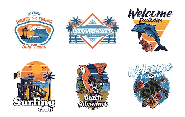 Impostare la collezione di stampe vintage estate hawaii california paradiso surf icone retrò logo con mare oceano animali onda vista palme viaggio surfista spiaggia per t-shirt adesivo patch illustrazione di moda Vettore Premium