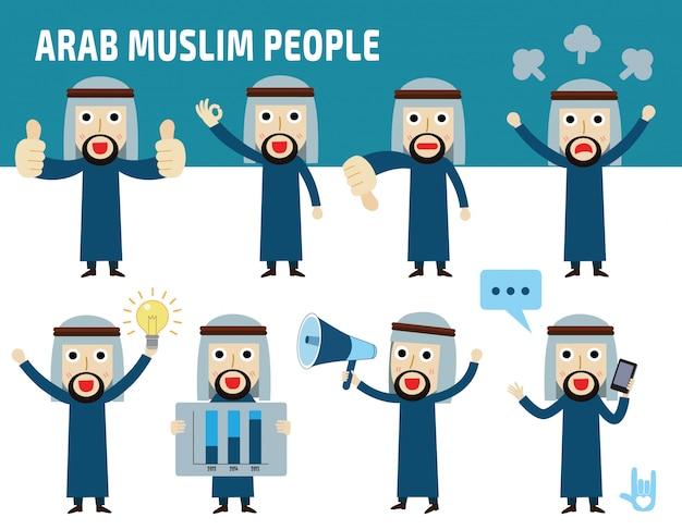 Impostare la differenza di nazionalità pose dell'uomo d'affari arabo. Vettore Premium