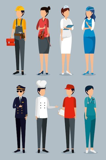 Impostare la festa del lavoro con datori di lavoro professionisti Vettore gratuito