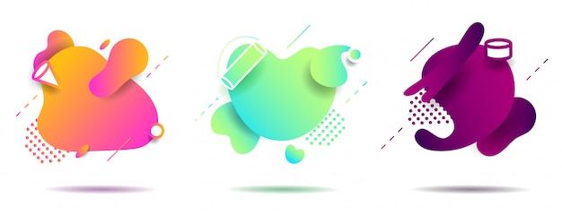Impostare la forma geometrica liquida astratta Vettore Premium