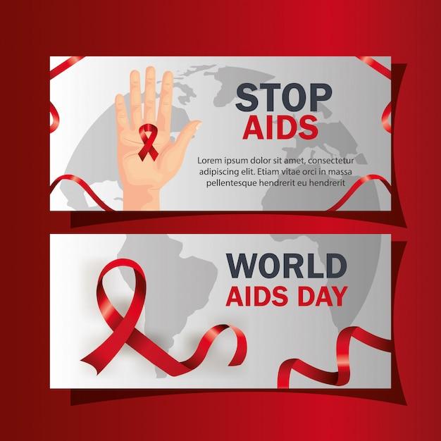 Impostare la giornata mondiale degli aiuti con la decorazione Vettore Premium