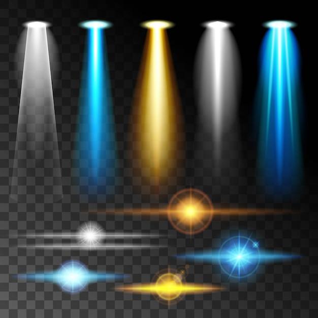 Impostare la luce realistica brillare bagliore blu luminoso delle lampade Vettore Premium