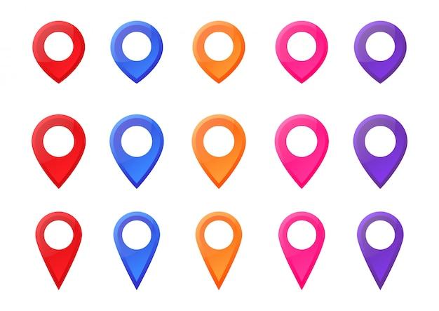 Impostare la mappa colorata puntatore posizione pin icona marcatore illustrazione vettoriale. Vettore Premium