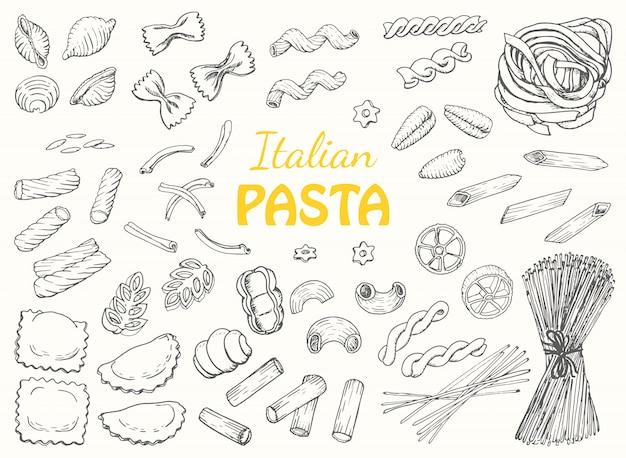 Impostare la pasta italiana su uno sfondo bianco Vettore Premium