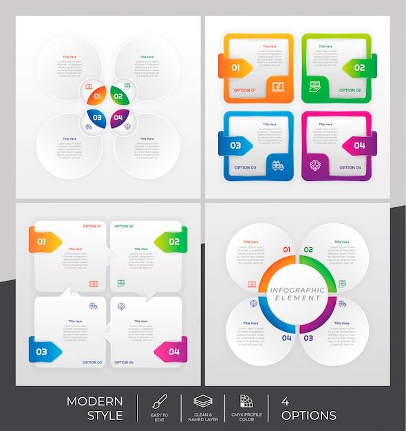 Impostare la raccolta di step infografica con 4 passaggi e stile colorato per scopi di presentazione, business e marketing. Vettore Premium