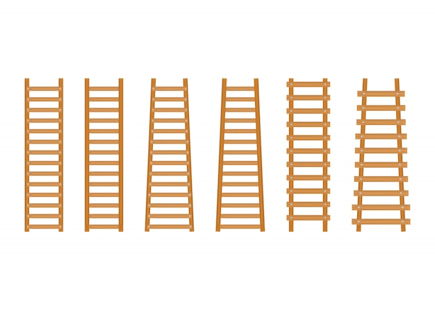 Impostare la scaletta in legno Vettore Premium