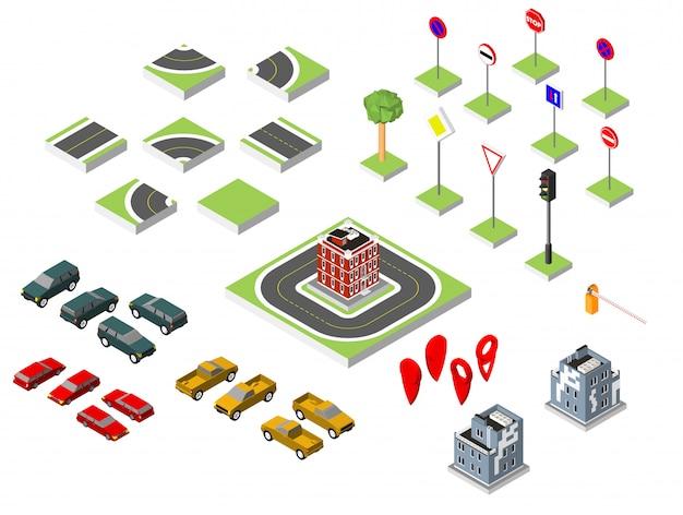 Impostare la strada isometrica e vetture vettoriali, il controllo del traffico stradale comune, edificio con finestre e aria condizionata. Vettore Premium