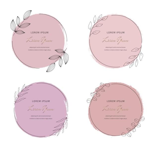 Impostare la struttura dell'acquerello tratto pennello rosa rotondo pastello morbido con cornici di foglie rotonde. forma geometrica con disegno a mano acquerelli. Vettore Premium