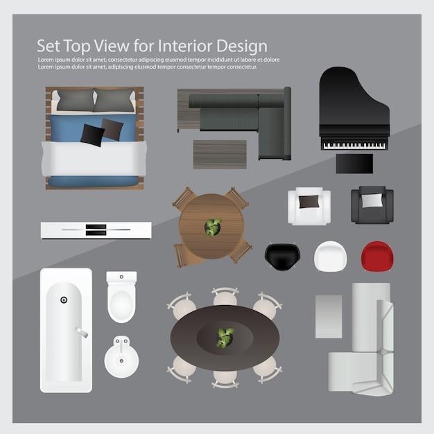 Impostare la vista dall'alto per l'interior design. illustrazione isolata Vettore Premium