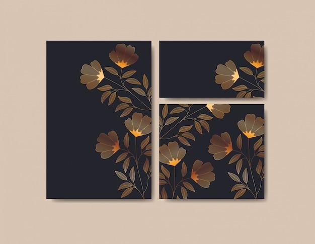 Impostare le carte degli inviti con decorazioni floreali Vettore gratuito