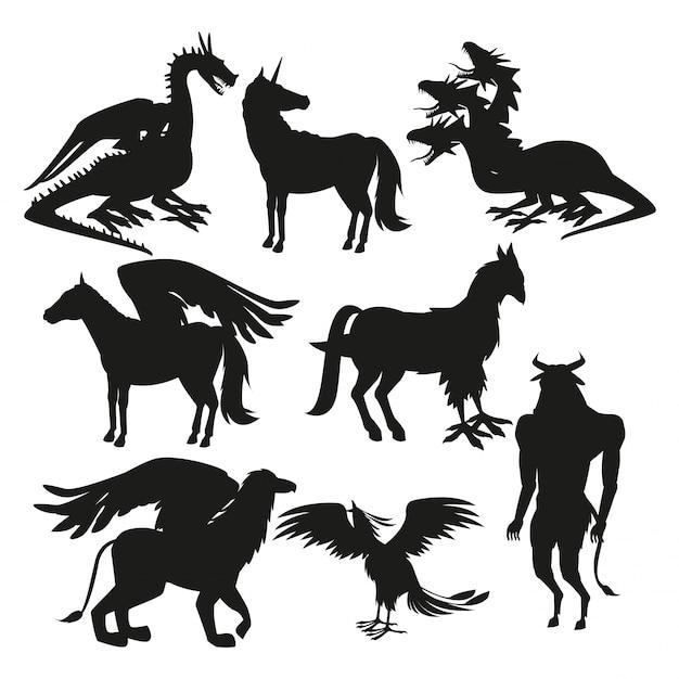 Impostare le creature mitologiche greche animali sagoma nera Vettore Premium