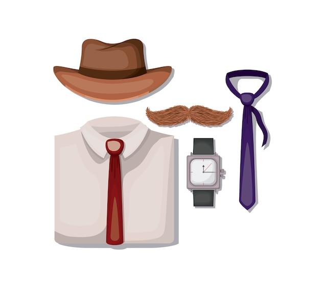 Impostare le icone degli accessori maschili Vettore Premium