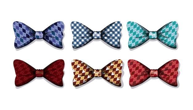 Impostare le icone di bowties elegants Vettore Premium