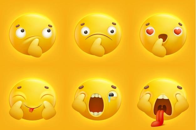 Impostare le icone di emoticon emoji sorriso giallo Vettore Premium