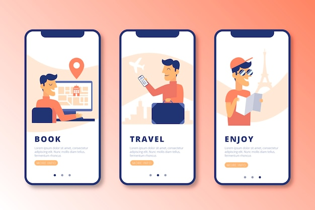 Impostare le schermate delle app di onboarding online Vettore gratuito