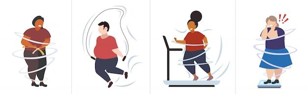 Impostare persone obese grasse in diverse pose sovrappeso maschio femmina personaggi raccolta obesità stile di vita malsano concetto di perdita di peso Vettore Premium