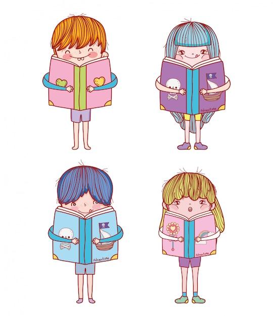 Impostare ragazzi e ragazze con l'educazione dei libri Vettore Premium