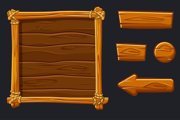Impostare risorse di legno dei cartoni animati, interfaccia e pulsanti per il gioco dell'interfaccia utente Vettore Premium
