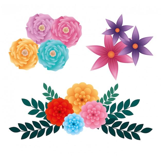 Impostare rose esotiche e fiori con foglie Vettore gratuito