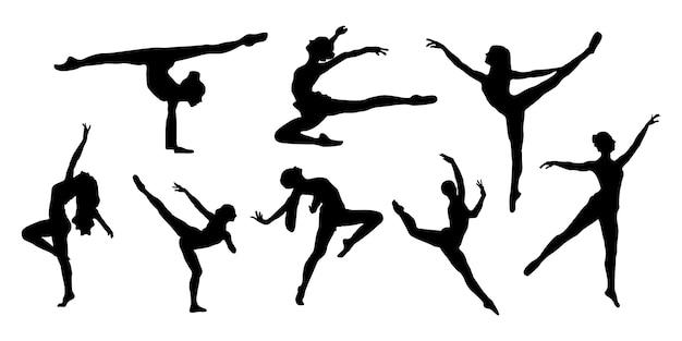 Impostare sagome di danza classica con stili di anatomia del corpo femminile Vettore Premium