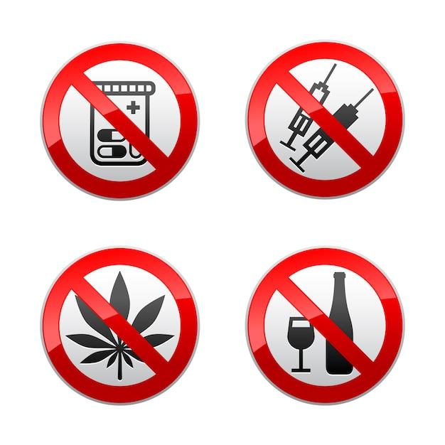 Impostare segni proibiti - droghe Vettore Premium