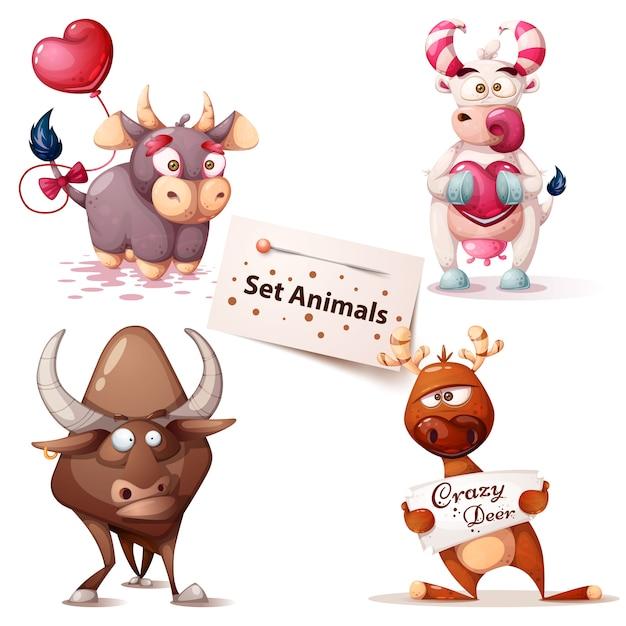 Impostare simpatici animali Vettore Premium