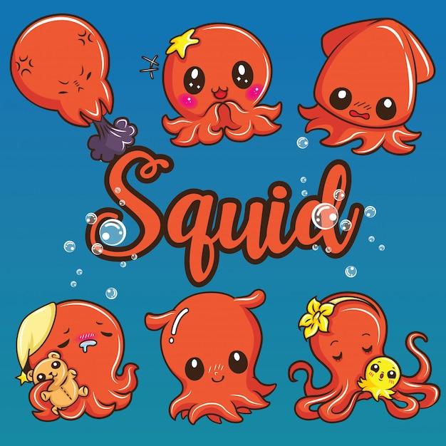 Impostare simpatico cartone animato di calamari. concetto di cartone animato animale. Vettore Premium