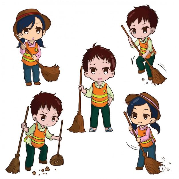 Impostare simpatico cartone animato street sweeper. concetto di lavoro. Vettore Premium