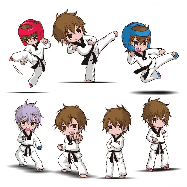 Impostare simpatico personaggio dei cartoni animati di taekwondo boy. Vettore Premium