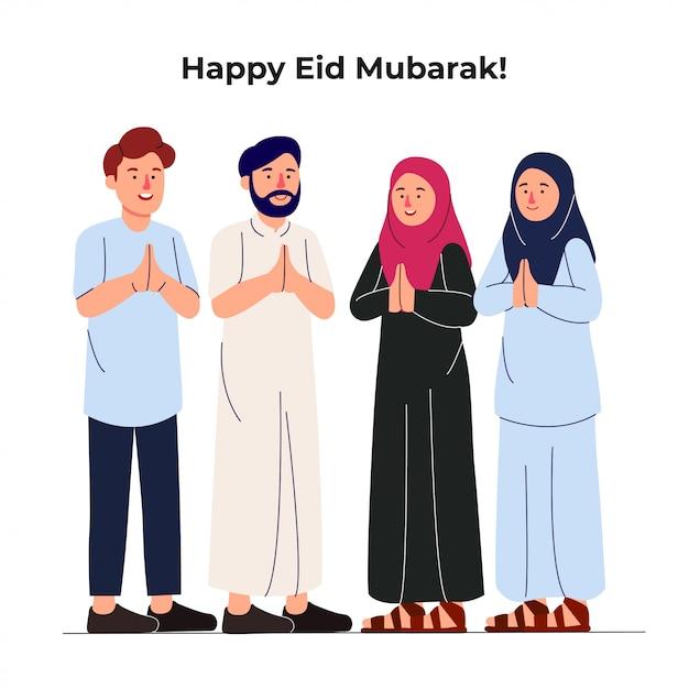 Impostare un gruppo di giovani musulmani che salutano insieme eid mubarak Vettore Premium