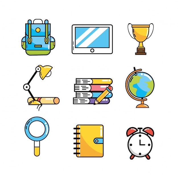 Impostare utensili scolastici creativi alla conoscenza Vettore Premium