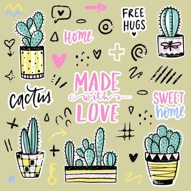 Impostato con cactus, frasi positive, elementi. cactus vettoriale carino. Vettore Premium