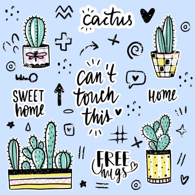 Impostato con cactus, frasi positive, elementi. Vettore Premium