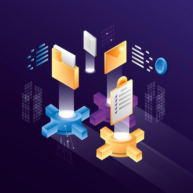 Impostazioni degli ingranaggi con le icone del data center Vettore Premium