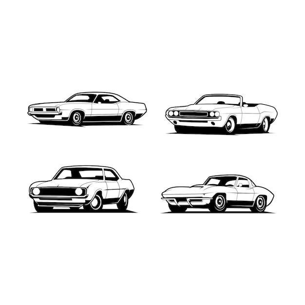 Imposti l'illustrazione classica dell'automobile Vettore Premium