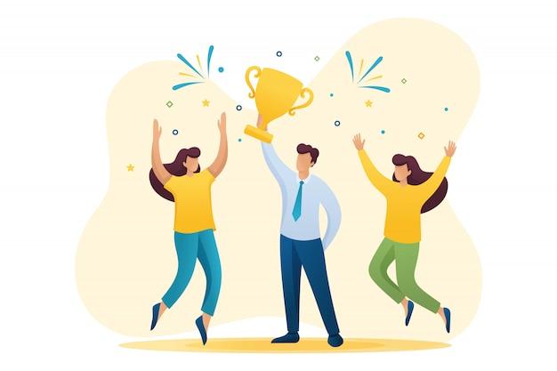 Imprenditore di successo che celebra una vittoria e trionfa ai vincitori della coppa. personaggio 2d piatto. concetto per il web design Vettore Premium