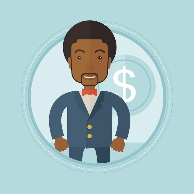 Imprenditore di successo con moneta da un dollaro Vettore Premium