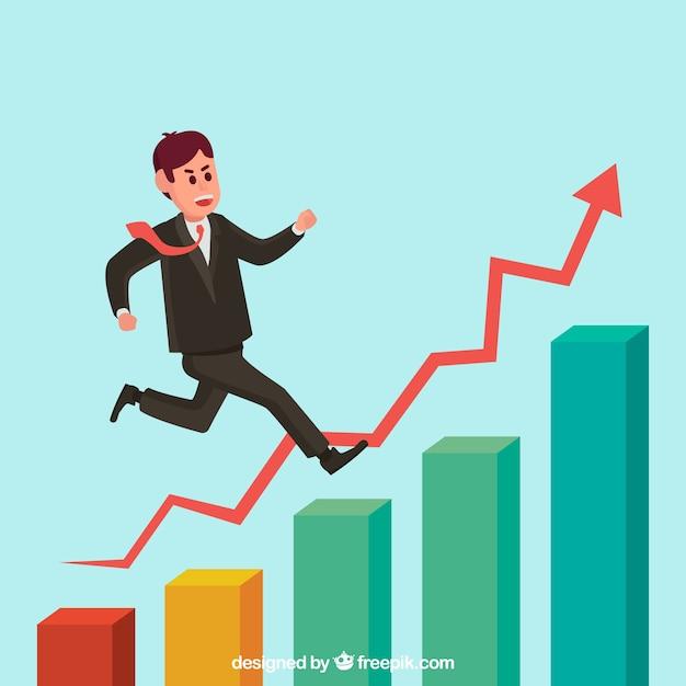 Imprenditore in cima ad un grafico di crescita Vettore gratuito