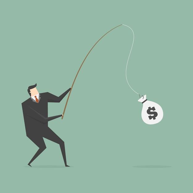 Imprenditore pesca un sacchetto di denaro Vettore gratuito