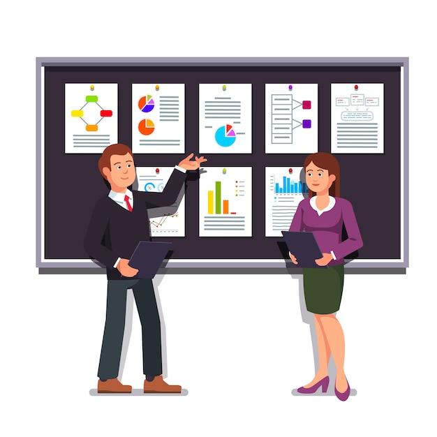 Imprenditori che presentano un business plan di avvio Vettore gratuito