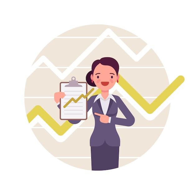 Imprenditrice con appunti. grafici e grafici positivi Vettore Premium