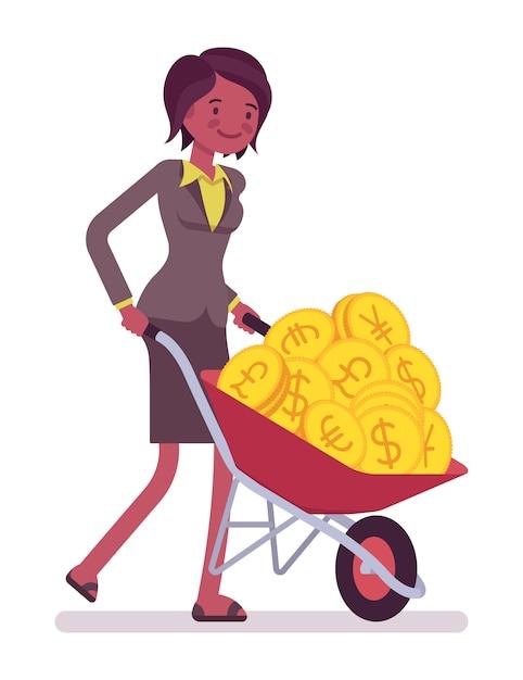 Imprenditrice spingendo una carriola piena di monete d'oro Vettore Premium