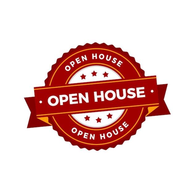 Impresa immobiliare con etichetta open house Vettore gratuito